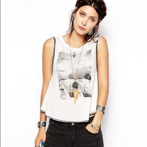 Free People Tank with Rockstar Graphic and Beads